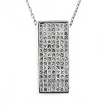 Ladies Diamond Slide Rectangular Rectangle Shape Princess Cut Pendant - 18k White Gold - Style# 000005