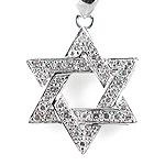 Diamond Jewish Star of David Pendant - 18k White Gold - Style# 000345