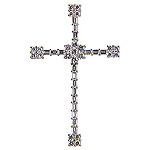 Diamond Cross Charm Pendant - 18k White Gold - Style# 000405