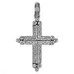 Diamond Cross Charm Pendant - 14k White Gold - Style# 000801