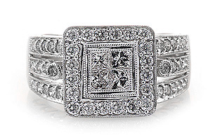Ladies Diamond Ring - 18k White Gold - Style# 000965