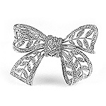 Ladies Diamond Bow Tie Brooch - 14k White Gold - Style# 001676