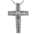 Diamond Cross Charm Pendant - 18k White Gold - Style# 001759