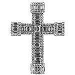 Diamond Cross Charm Pendant - 18k White Gold - Style# 001760