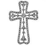Diamond Cross Charm Pendant - 18k White Gold - Style# 001761