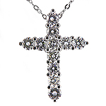 Diamond Cross Charm Pendant - 14k White Gold - Style# 001818