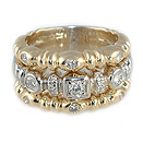 Ladies Two Tone Diamond Ring - 14k Yellow and White Gold - Style# 002042