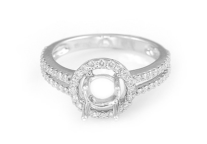 Ladies Diamond Engagement Ring - 18k White Gold - Style# 002328
