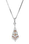 Ladies Diamond Two Tone Tie Shape Chandelier Pendant - 14k White and Pink Rose Gold - Style# 002481
