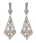 Ladies Diamond Two Tone Tie Shape Chandelier Earrings - 14k White and Pink Rose Gold - Style# 002505