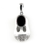 Diamond Baby Shoe Charm Pendant - 14k White Gold - Style# 002548