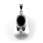 Diamond Baby Shoe Charm Pendant - 14k White Gold - Style# 002549