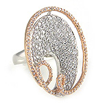 Ladies Diamond Ring - 18k White and Rose Gold - Style# 002566