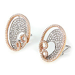 Ladies Diamond Earrings - 18k White and Rose Gold - Style# 002568