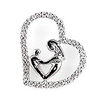Diamond Couples Heart Pendant - 18k White Gold - Style# 002574