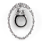 Diamond Couples Oval Pendant - 18k White Gold - Style# 002576