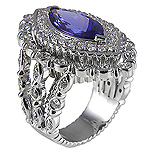 Ladies Marquee Shape Natural Tanzanite and Diamond Ring - 14k White Gold - Style# 002789