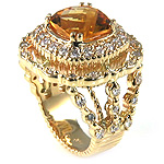 Ladies Diamond & Citrine Ring - 14k Yellow Gold - Style# 002825