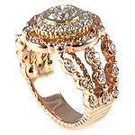 Ladies Small and Center GH SI Color Diamond Ring - 14k Pink ( Rose ) and Yellow Gold - Style# 002826