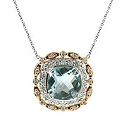 Ladies Diamond & Blue Topaz Necklace - 14k White and Pink ( Rose ) Gold - Style# 002827