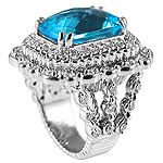 Ladies Diamond & Blue Topaz Ring - 14k White Gold - Style# 002830