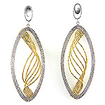 Ladies Two Tone Diamond Cut Oval with inner Wave Earrings  - 14k White and Yellow Gold - Style# 908497
