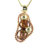 Ladies Chocolate Pearl and Stone Charm Pendant - 14k Yellow Gold - Style# 909722