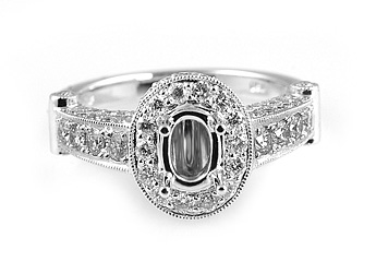 Ladies Diamond Engagement Ring - 18k White Gold - Style# CR03538