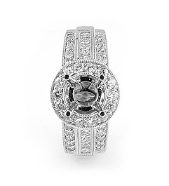 Ladies Diamond Engagement Ring - 18k White Gold - Style# CR03862DI