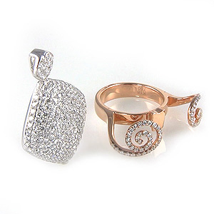 Ladies Diamond Ring and Transforming Pendant - 18k White & Rose Gold - Style# CR3240