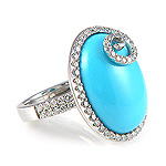 Ladies Diamond & Turquoise Ring - 18k White Gold - Style# CSR-02229