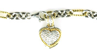 Ladies Diamond, Citrine, Topaz and Quartz Heart Bracelet - 14k White & Yellow Gold - Style# DB2674