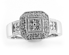 Ladies Diamond Ring - 18k White Gold - Style# HR0133