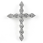 Diamond Cross Charm Pendant - 18k White Gold - Style# LPDD11012