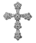 Diamond Cross Charm Pendant - 18k White Gold - Style# 002356