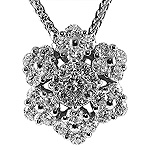 Ladies Diamond Snowflake Star Shape Charm Pendant - 18k White Gold - Style# 002792