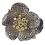 Ladies White and Yellow Diamond Flower Ring - 18k Black Gold - Style# LR6411-6