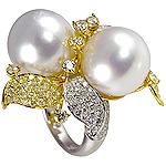 Ladies Two White Pearl and Diamond Flower Ring - 18k White and Yellow Gold - Style# LR6444-9