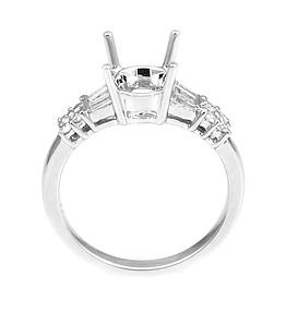 Ladies Diamond Engagement Ring - 18k White Gold - Style# LRDD11016-DR