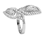 Ladies Dual Two Heart Diamond Ring - 18k White Gold - Style# LRDD11785