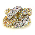 Ladies Diamond Ring - 18k White and Yellow Gold - Style# LRDD12847