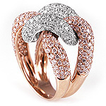 Ladies Diamond Ring - 18k White and Rose Gold - Style# LRDD12847R