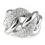 Ladies Diamond Chain Ring - 18k White Gold - Style# LRDD12856