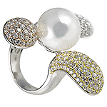 Ladies Pearl and Diamond Flower Ring - 18k White Yellow and Rose Gold - Style# R11379-1